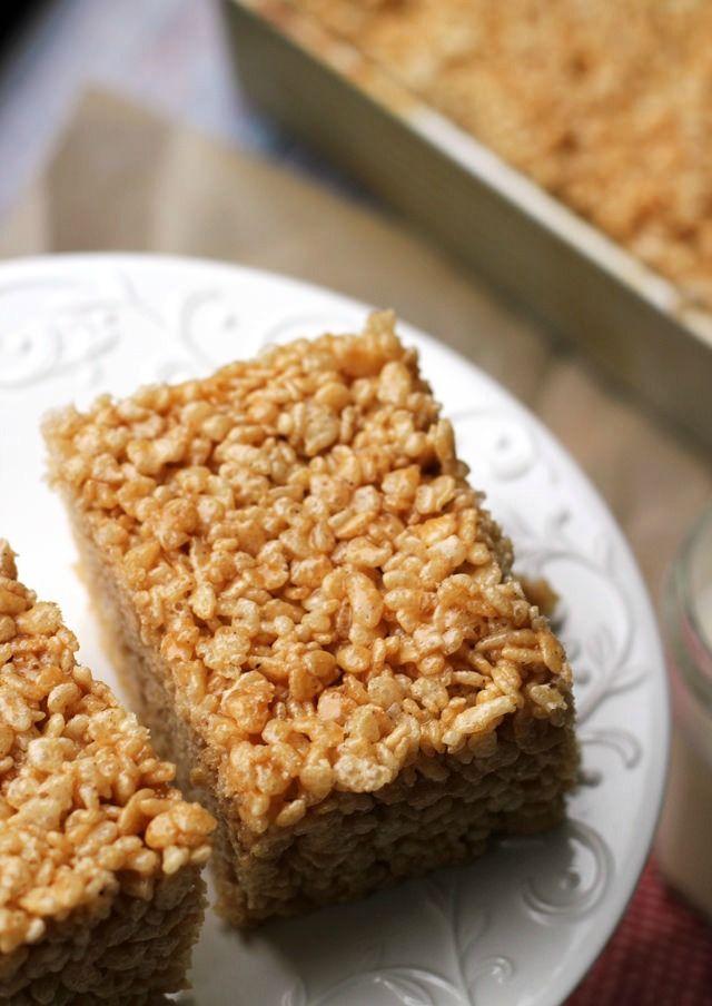 salted caramel brown butter rice krispie treats