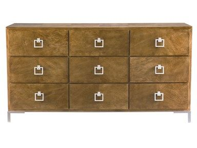 This burlwood chest with silver hardware is from one of our favourite collections. The look it gives to a room is polished, timeless with an edge.   Avenue Design Canada