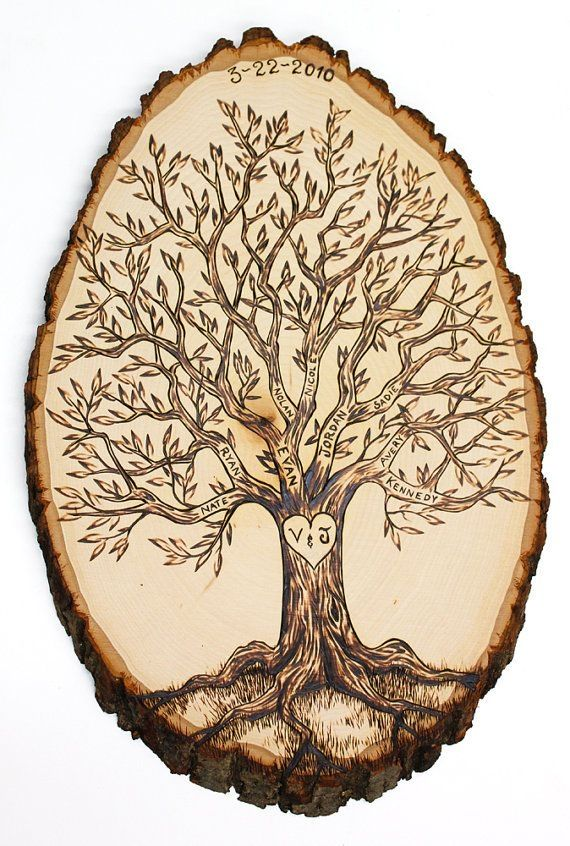 wood burned tree initials in trunk coasters - Google Search