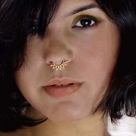Beautiful Detailed Brass Septum For Non Pierced Nose ...