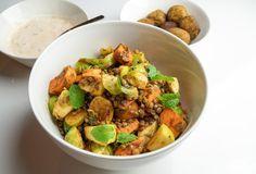 Recept: Schotel met zoete aardappel, linzen en spruitjes