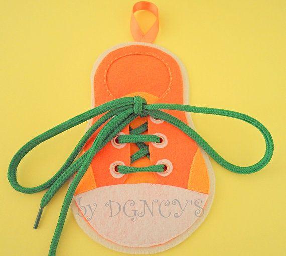Felt shoe tying teacherHandmade toy by DGNCY on Etsy