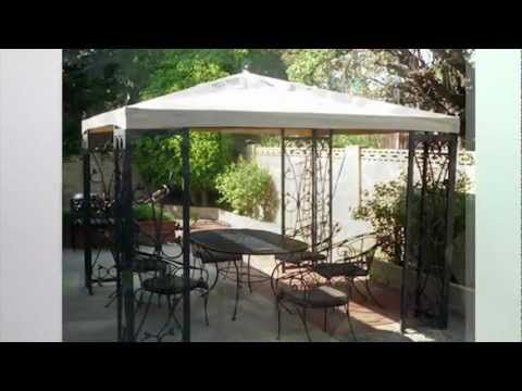 Costco Wholesale 10 x 10 Fleur De Lis Finial Gazebo Replacement Canopy Garden Winds