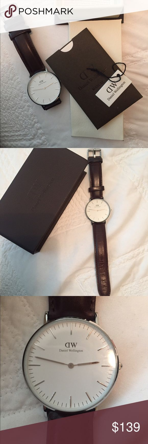 Classic Daniel Wellington watch 36mm Daniel Wellington classic watch, 36mm, dark brown strap. Literally worn once, I bought it because I thought I had lost my other one and found it shortly after. No scratches. Daniel Wellington Accessories Watches