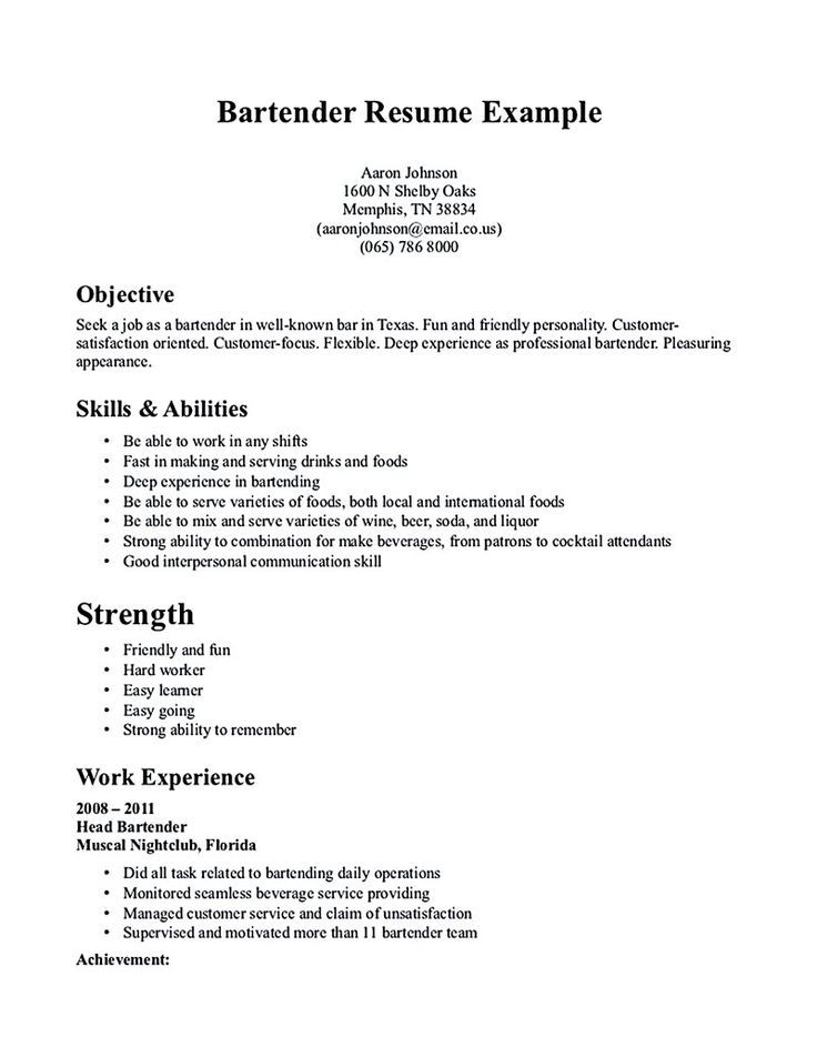 Bartender Resume Example  Resume Examples And Free Resume Builder