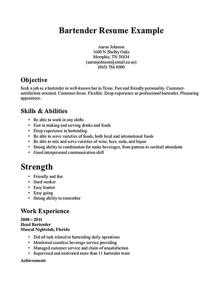 Best 25+ Free resume samples ideas on Pinterest Free resume - resume for a bartender