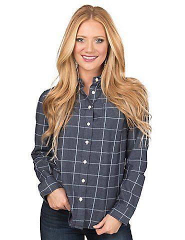 Per Se Women's Denim Window Pane Long Sleeve Blouse Fashion Top