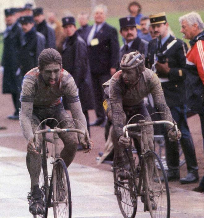 Muddy ride - 1985 Paris Roubaix. Sean Kelly Nips lemond at the finish to take 3rd