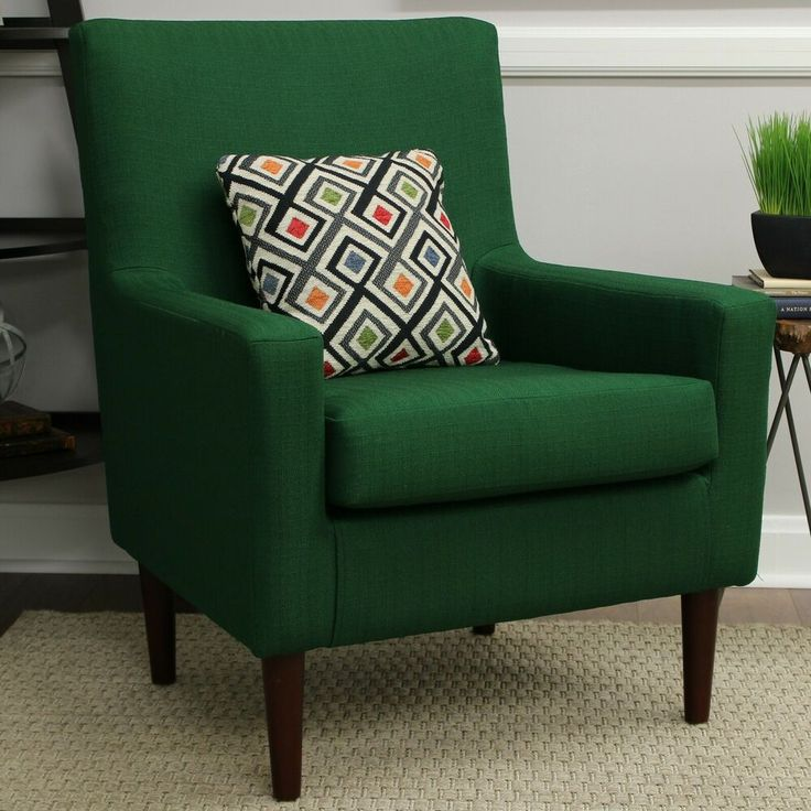 Emerald green accent arm chair lounge upholstered fabric