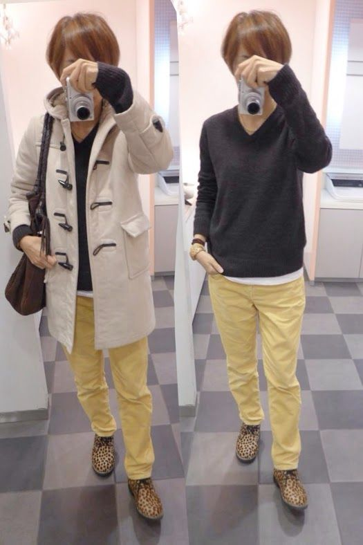 今日はイエローとブラウンで  Outer/Gloverall Knit/MUJImens Bottoms/GAP Bag/CLARAMONTE  Shose/GAIMO