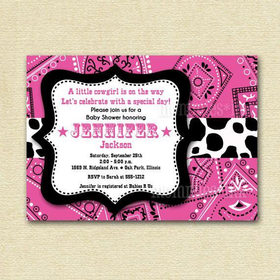 Western Cowgirl Pink Bandana Baby Shower Invitation - PRINTABLE INVITATION DESIGN via Etsy