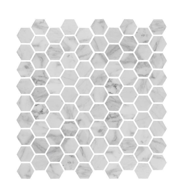 Bricmate U Hexagon Carrara Polished, marmor med naturliga skiftningar.