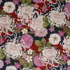 Tissu japonais rouge, gris anthracite et doré chrysanthèmes