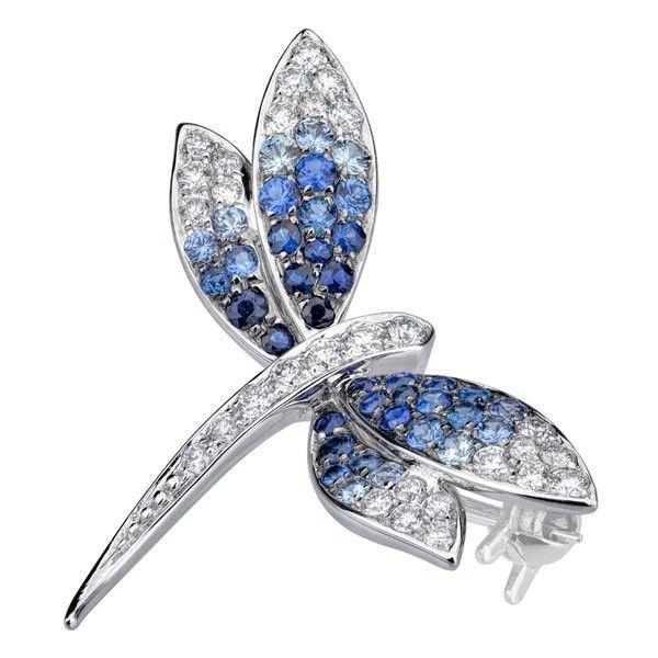 Brosa diamante si safire DRHK00012 ‐ Bijuteria Teilor