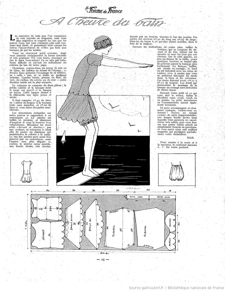 Below La Femme de France 1924 it is translated as saying it was bath time which I think means this is a bathing suit! Free Pattern Draft.