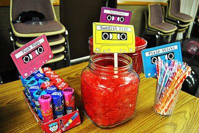 Casette Candy/Food Buffet labels.