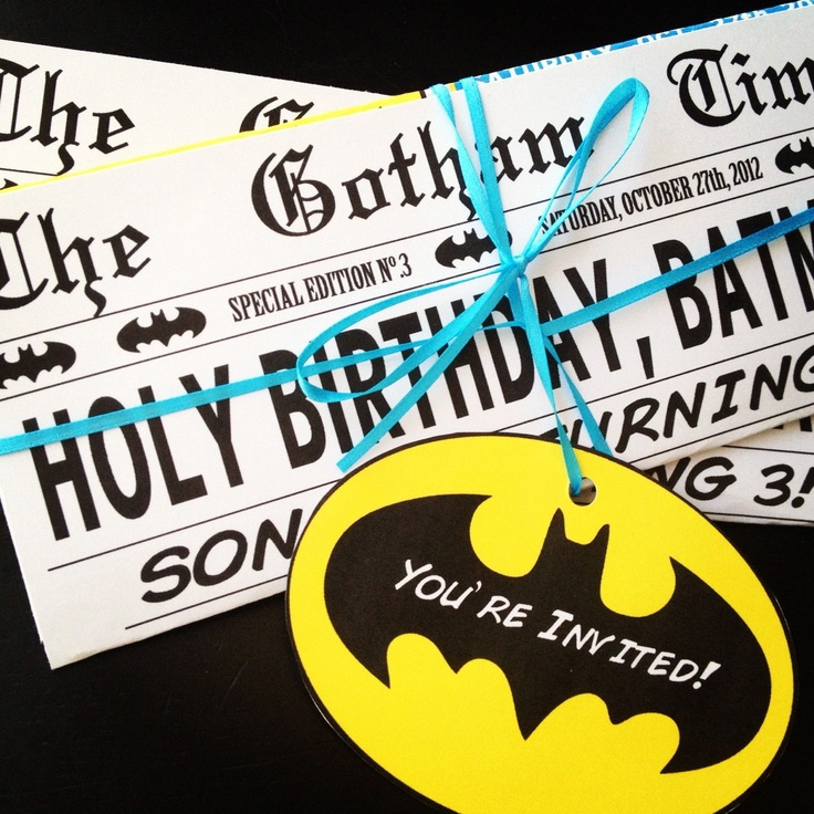 Batman Superhero Birthday Party Newspaper Invitation
