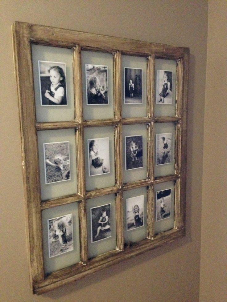 re purpose an older style wood window by staining or chalk painting the frame then adding matted photographs you may be able to find a suitable window at