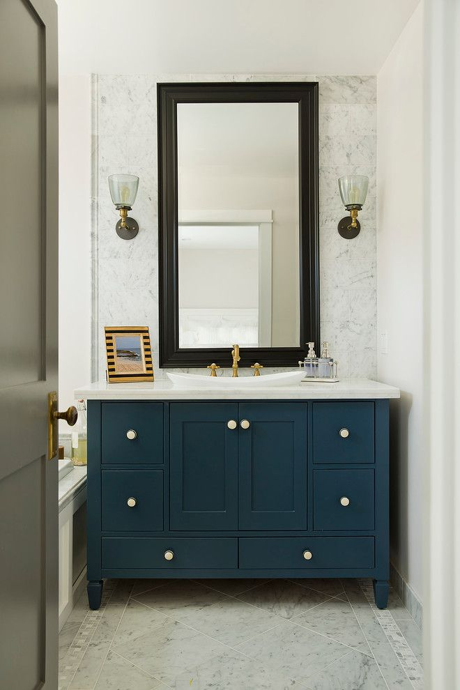 Best Powder Room With Teals Cabinet Black Framed Mirror White 400 x 300