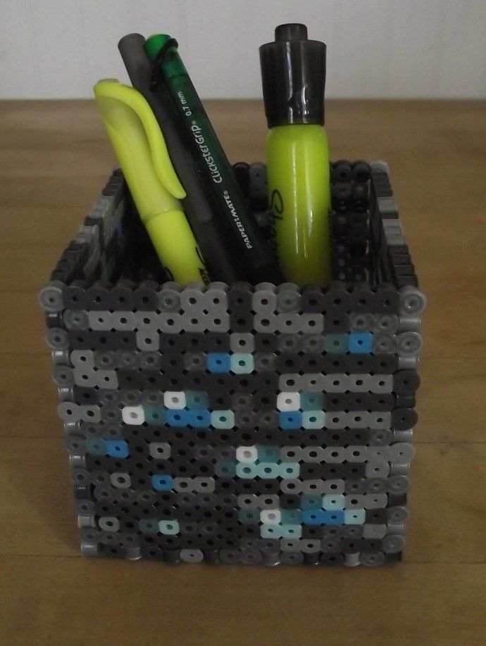 17 best images about minecraft hama perler bead minecraft diamond block pencil holder perler beads by by soggy enderman