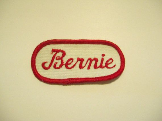 Vintage embroidered name patch, rockabilly mechanic style. Reads BERNIE. Never used, good condition. Sew on. *Each patch may vary a little from