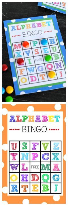 Alphabet Bingo. Link has printables, but could DIY this myself. When calling a letter, hold up a flash card with that letter.