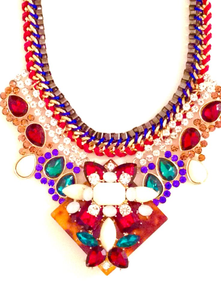 necklace rhinestones and colored stones - collana in strass e pietre colorate € 28,00  www.canwink.com