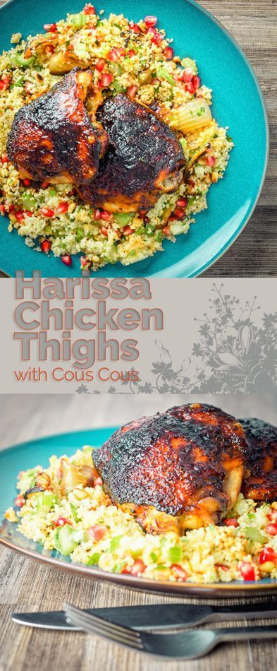 These harissa chicken thighs have got the most wonderful almost caramel 'lacquer' from the combination of butter, honey and of course harissa paste! #recipe #recipeoftheday #chicken #chickendinner #chickenrecipes #dinnerfortwo #recipesfordinner #couscous #chickenthighs