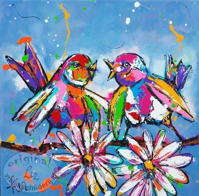 Vogelliefde - Vrolijk Schilderij