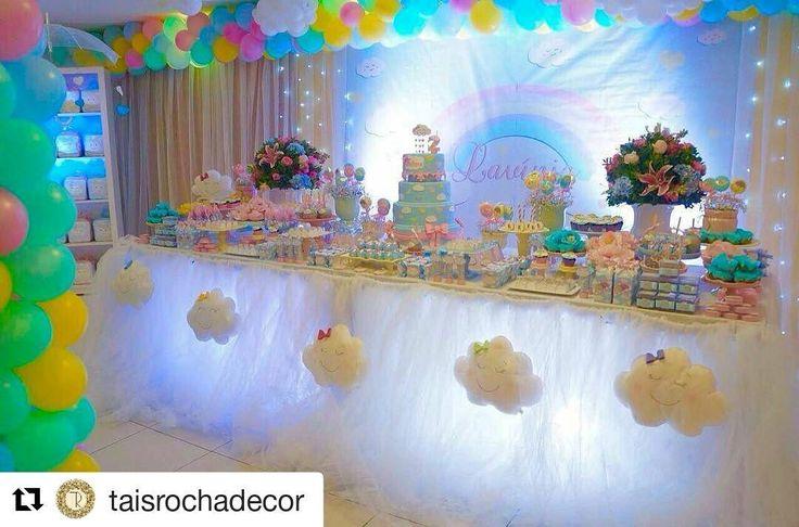 #Repost @taisrochadecor (@get_repost) ・・・ Chuva de amor para Lavínia ☔️ @luluzinhamap mamãe caprichosa e dedicada que pensou nos mínimos detalhes para a linda festa da sua princesa. obrigada! foi e será um prazer trabalhar com vc 😍 #chuvadeamor  #decoracaochuvadeamor  #chuvadebençãos  #festachuvadeamor  Decoração: @taisrochadecor  Bolo: @jerlania_rocha  Balões: @marcossampaiodecoracoes  Personalizados: @docecerejanatal  Doces Gourmet: @joydouces  Scraps: @Nartscrapbook Lancheiras…