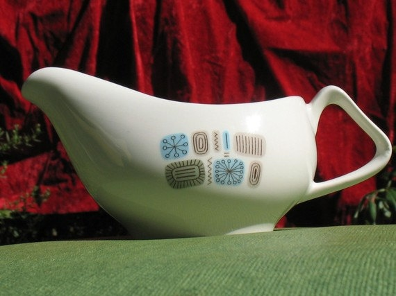 Vintage 50s or early 60s gravy boat with midcentury by Fancywork, $15.00