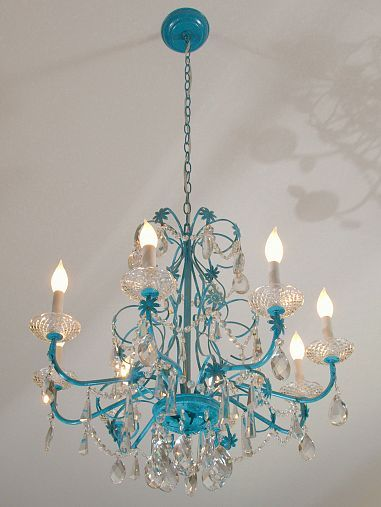 DIY::Blue chandelier Makeover