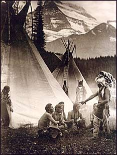 Blackfoot Council. Piegan / Blackfoot. Glacier National Park, Montana. 1913.
