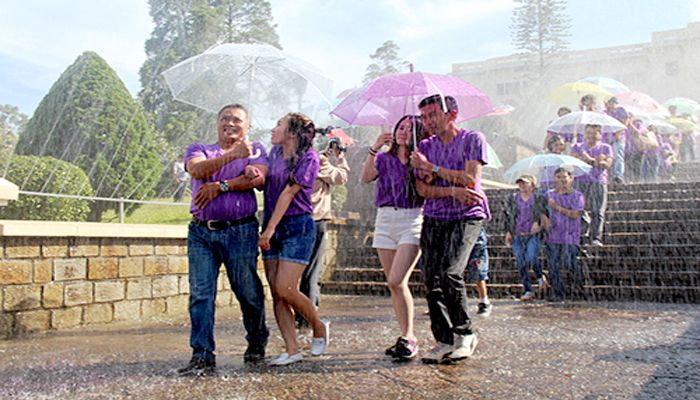 There is the Rain Festival in Da Lat. The Rain Festival is happened in the beginning of August. If you love the rain, do not miss this festival in the romantic city in the highland of the country. The festival brings you the great activities in the rain such as walking, biking, water pedal biking on Huong River, flashmobing etc.
