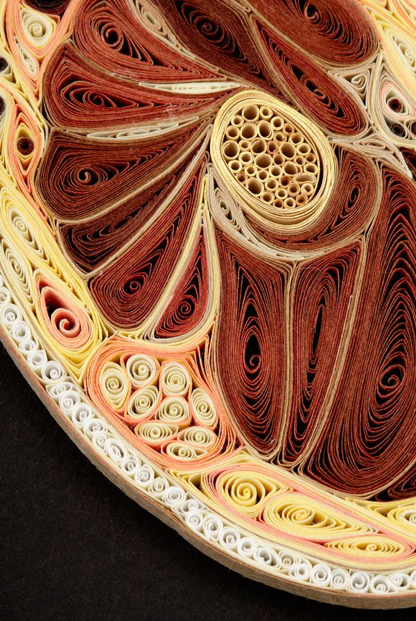 For her Tissue Series, artist Lisa Nilsson constructs anatomical cross sections of the human body using rolled pieces of Japanese mulberry paper, a technique known as quilling or paper filigree.
