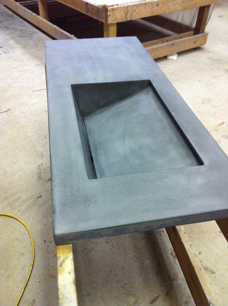 vaidade do banho de concreto com pia integrante