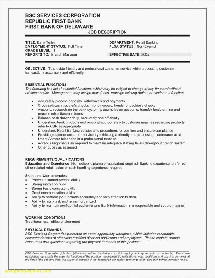 27 best resume job examples diy in 2020 bank teller