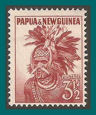 Papua New Guinea Stamps 1952 Headdress, mint