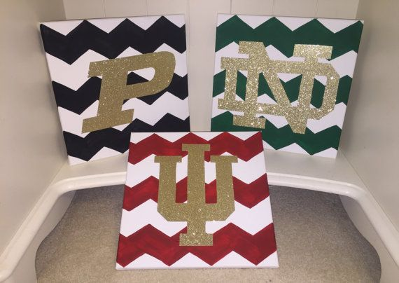 gotta love the chevron, school spirit and glitter! great for an apartment!  Show Your Chevron School Spirit 12 x 12in. by ForeverCollege