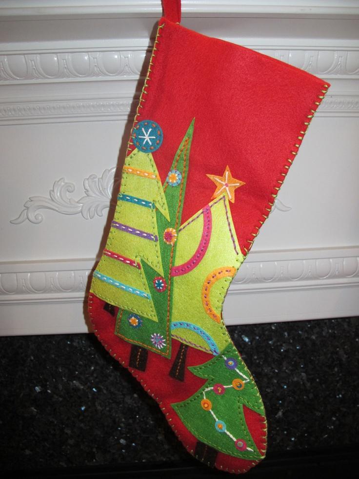 Festive trees red felt stocking christmas stocking for Felt stocking decorations