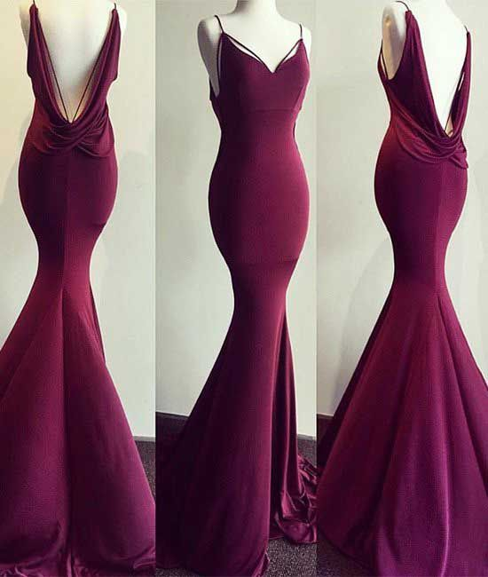 Hot-Sexy Mermaid Spaghetti Straps Burgundy Long Prom Dress with Open Back