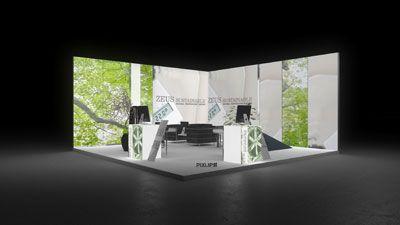 441 Heizungsanlagen Zeus Sustainable   Attraktiver Messestand eines Heizungsanlagenherstellers.   Die hohen, rahmenlos bedruckten Leuchtwände mit fotorealistischen Blätterwald Motiven und...