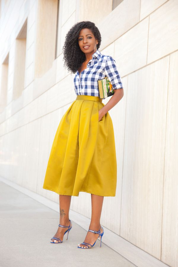 Gingham Button Down + Pleated Midi Skirt. Cute outfit. Love the colored mid skirt