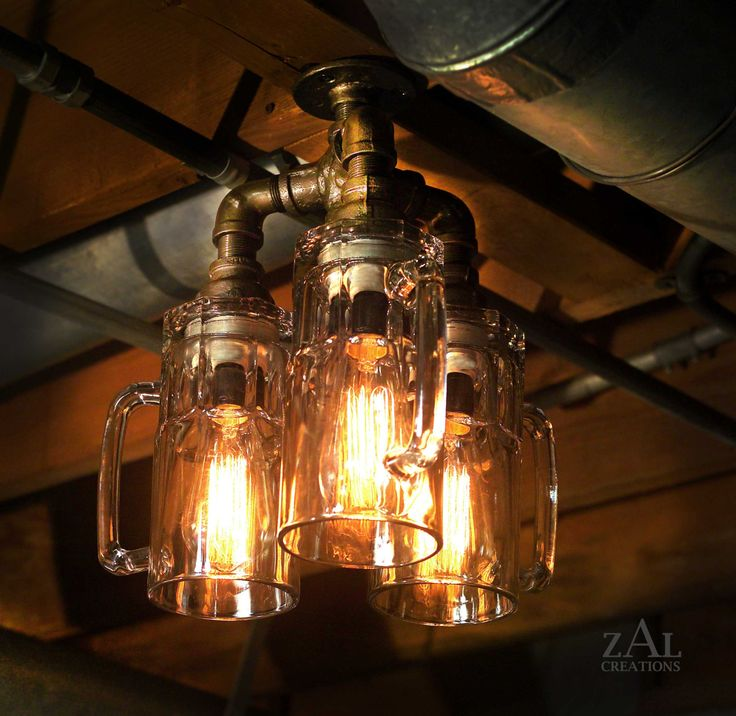 Ceiling Light. Beer Mugs And Plumbing Fittings. With