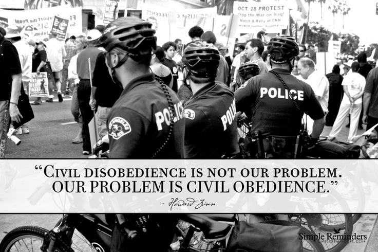 """Civil disobedience is not our problem. Our problem is civil obedience."" ~Howard Zinn"