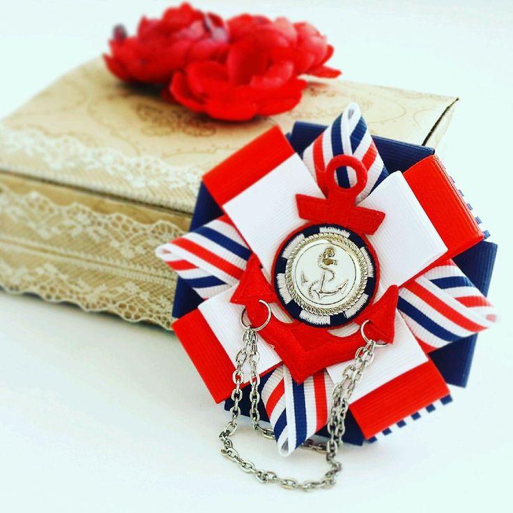 """Купить Брошь """"Морской круиз"""" - красный, белый, синий, морской стиль, якорь, брошь"""