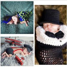 Newborn Baby Crochet Boy Girl Photography Prop Costume Suit Outfit Clothes
