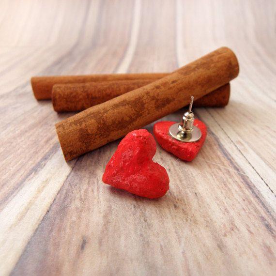 Papier mache red heart stud earringspaper by EfthimiaPapierMache