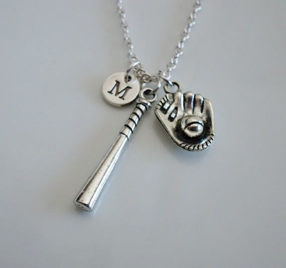 Softball necklace Softball bat necklace by MemorableCharms on Etsy
