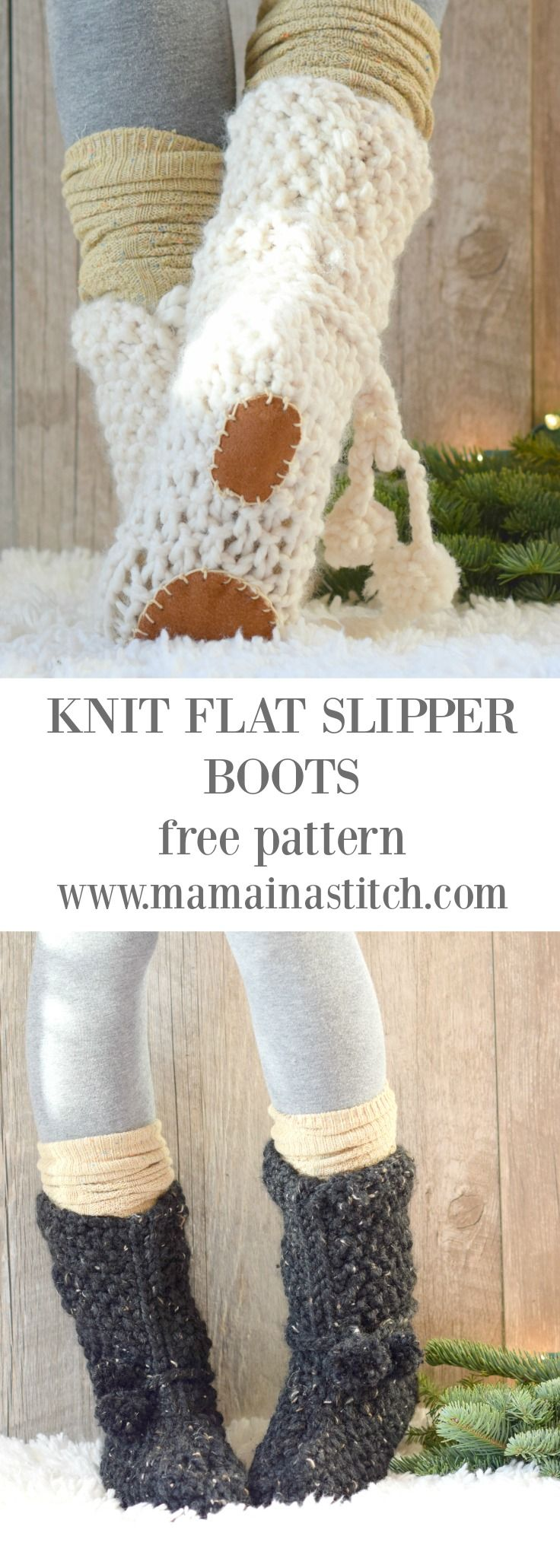 Mountain Chalet Boot Slipper Knitting Pattern (Knit Flat) via @MamaInAStitch These beginner friendly, knit slipper boots can be made quickly! #diy #knitting #how to